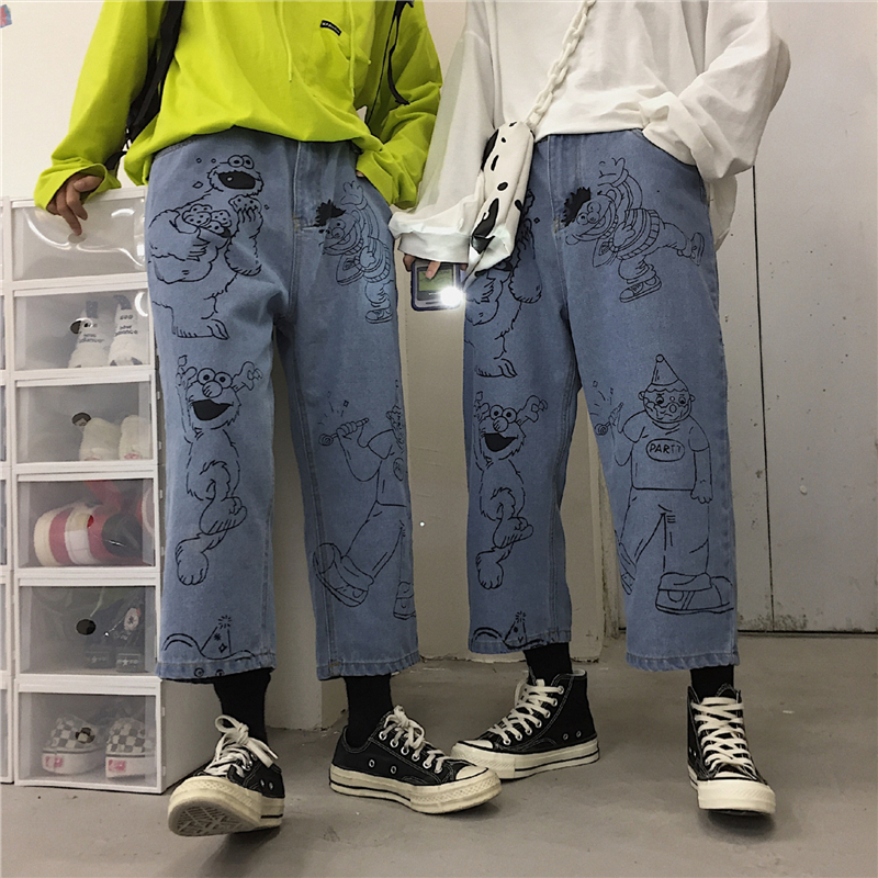 Autumn Women   Jeans   Vintage Cartoon Printed   Jeans   Woman Fashion High Waist Loose Streetwear Mom   Jeans   2019 Casual Trousers Female