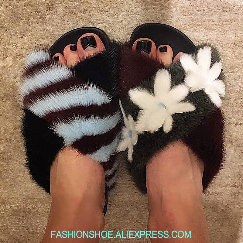Cuero Mujer Zapatillas Fuera Lujo Las De Pelo Show As Se Verano Visón Desliza Flores Piel Decoración Mujeres Zapatos Sandalias wBZ1aqf