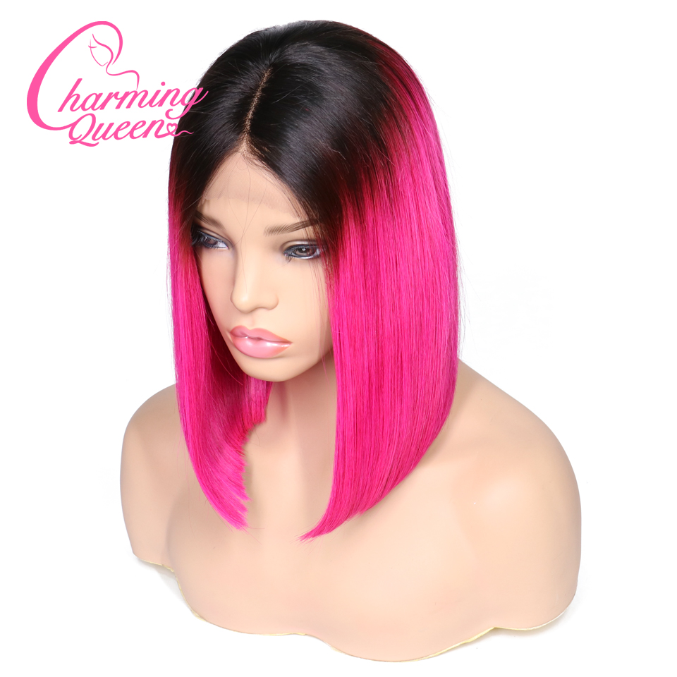 Charming Queen Ombre Color Lace Front Human Hair Wigs For Black Women Brazilian Remy Hair Straight