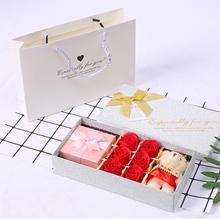 Valentine Wedding Mothers Day Plush Bear Shape Soap Rose Party Festival Gift Set Scented Bath Body Petal Rose Flower Soap