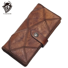 TAUREN 2019 New Retro Trend Womens Wallets For Lady Genuine Leather Clutch Wallet Women Girls Long Coin Card Purses
