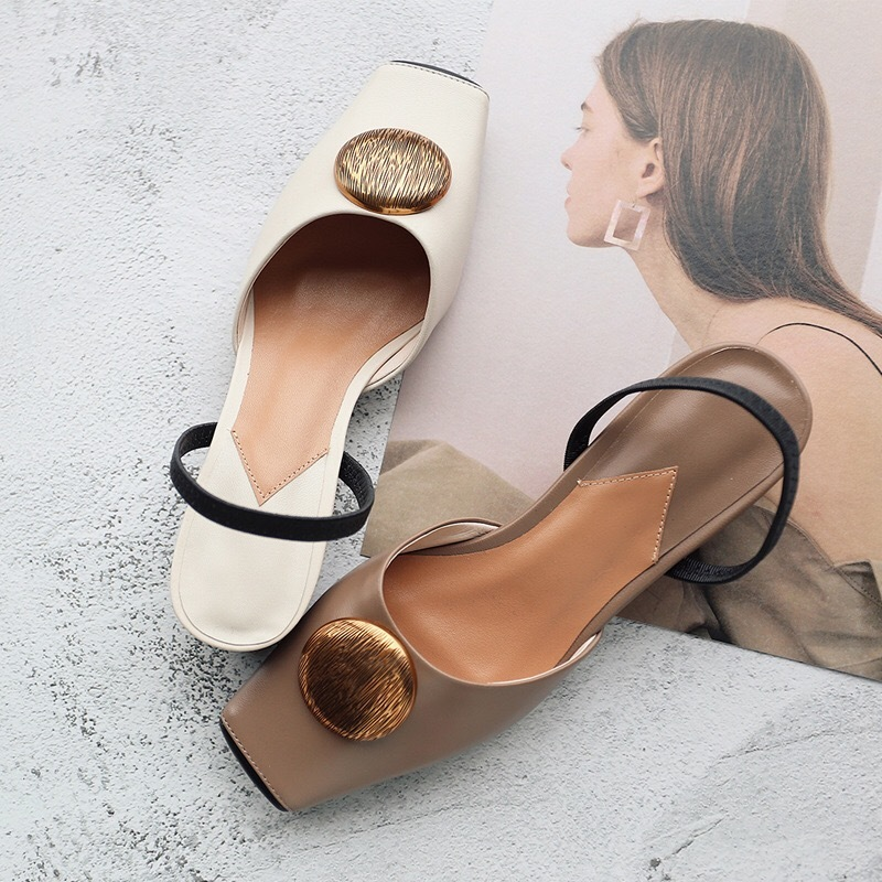 Réel Talons Classiques Diapositives Lacets Femme nude Carré Chaussures En Black Tendance Cuir Bout Chaton Pompes Femmes Sans Printemps Sandales Automne 1EqrEXwx