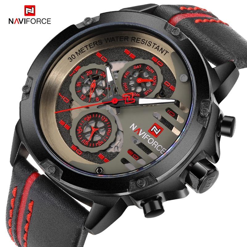 купить NAVIFORCE Men's Luxury Top Brand Fashion Analog Quartz Wrist Watch Leather Sports Watches Men Waterproof Clock Relogio Masculino по цене 1950.17 рублей