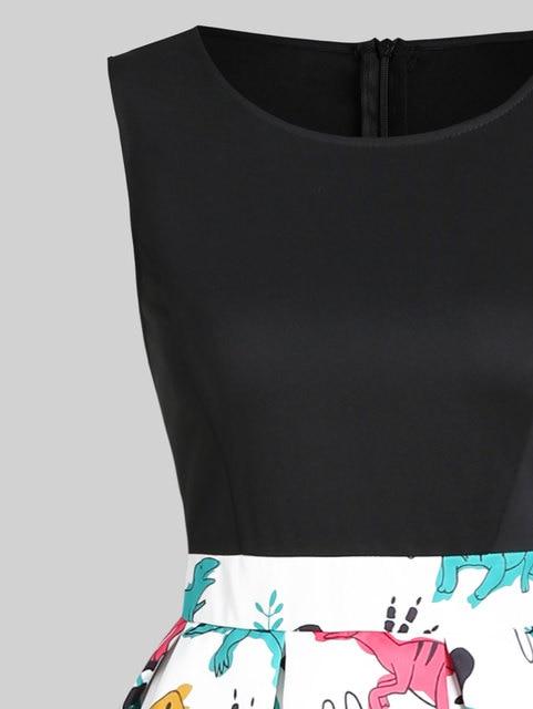 Wipalo Vintage Women Dinosaur Print Sleeveless A Line Dress Summer New Fashion O Neck Knee Length Dress Vestidos Women Clothings 3