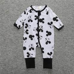 2019 новорожденных Для маленьких мальчиков Одежда для новорожденных комбинезон с длинными рукавами Цветочный принт для маленьких девочек