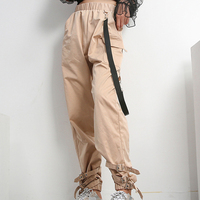 fb2805e838 ... moda Hip Hop Pantalones mujer. High Waist Cargo Pants Women Pockets  Patchwork Loose Streetwear Pencil Pants 2019 Black Fashion Hip Hop