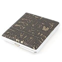 Promotion! Étui à cigarettes Ultra-mince de style égyptien en métal, simili cuir