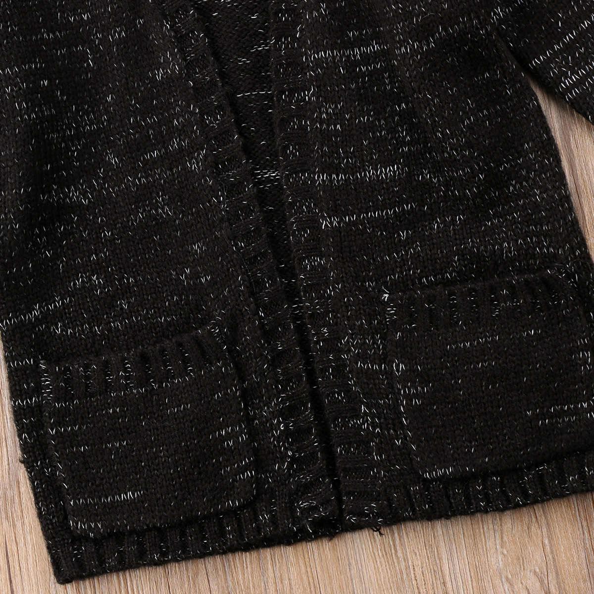 2-6 t Ocasional Crianças Bebê Menino Menina Camisola De Malha Preto Manto Malhas Casaco Outwear Roupa