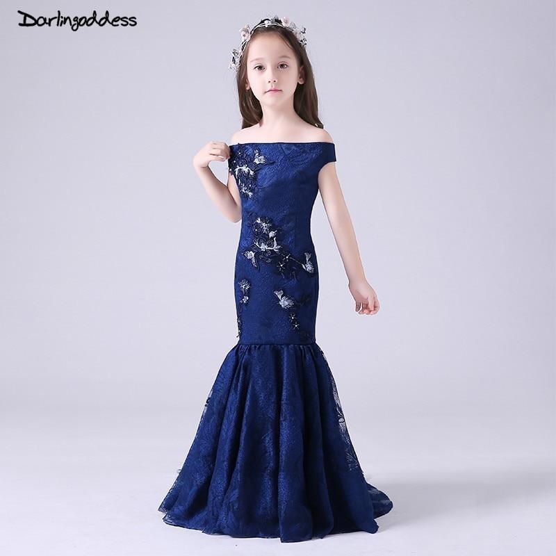 Navy Blue Lace Mermaid Flower Girl Dresses for Weddings Kids Pageant Gowns Evening Dresses for Girls vestido de comunion 2019
