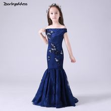 Navy Blue Lace Mermaid Flower Girl Dresses for Weddings Kids Pageant Gowns  Evening Dresses for Girls vestido de comunion 2019 c9f3a5318cf5