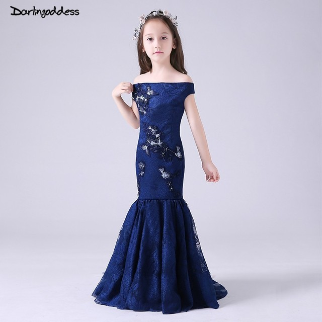 Us 62 8 40 Off Navy Blue Lace Mermaid Flower Girl Dresses For Weddings Kids Pageant Gowns Evening Dresses For Girls Vestido De Comunion 2019 In