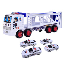 Kids Toy Simulation Car Container Double-decker 4pcs Mini Police Cars Slide Way