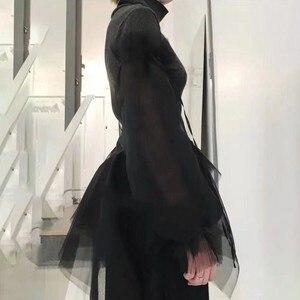 Image 3 - Twotwinstyle Patchwork Trui Vrouwen Coltrui Bladerdeeg Lange Mouw Ruche Zoom Breien Trui Tops Vrouwelijke 2020 Lente Koreaanse Nieuwe