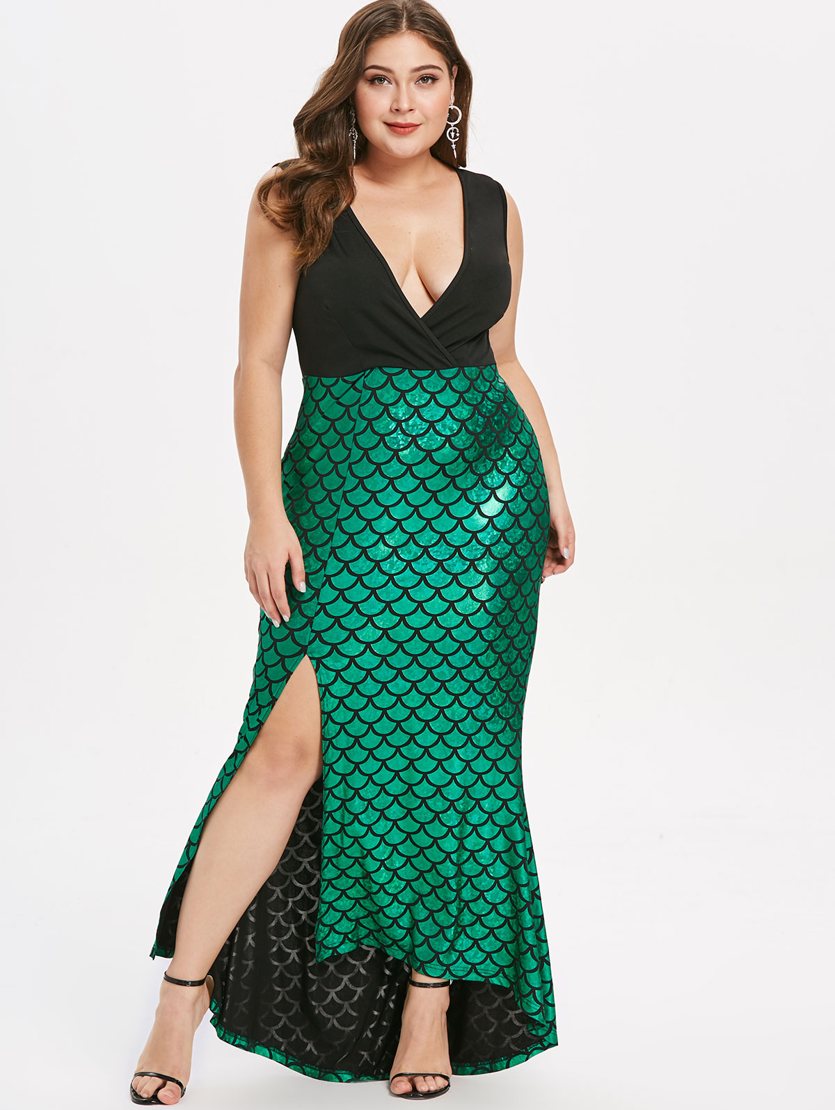 Women <font><b>Sexy</b></font> Deep V-Neck Fish Scale <font><b>Dress</b></font> Sleeveless Patchwork Maxi <font><b>Dress</b></font> Split Mermaid <font><b>Dress</b></font> Vestidos Plus Size Party <font><b>Dresses</b></font> <font><b>5XL</b></font> image