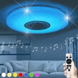 Image 1 - Luminaria עגול מנורת ילדים חדר lampara techo סלון אורות מוסיקה שינה ילדי led תקרת אור bluetooth רמקול חדש