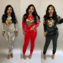 velvet patchwork sequin Sexy Suit two 2 piece set top and pants women clothes casual long sleeve streetwear free shiping autumn цена