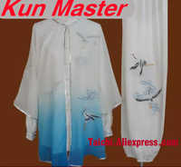 Custom Tai Chi ประสิทธิภาพชุด Crane เย็บปักถักร้อย Unisex ศิลปะการต่อสู้เสื้อผ้าสำหรับ Kung Fu สามชิ้น Veil แจ็คเก็ตและกางเกง