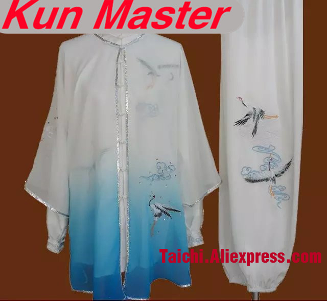 Custom Tai Chi Performance Uniform Crane Embroidery Unisex  Martial Art Clothing For Kung Fu Three Pieces Veil Jacket And Pants