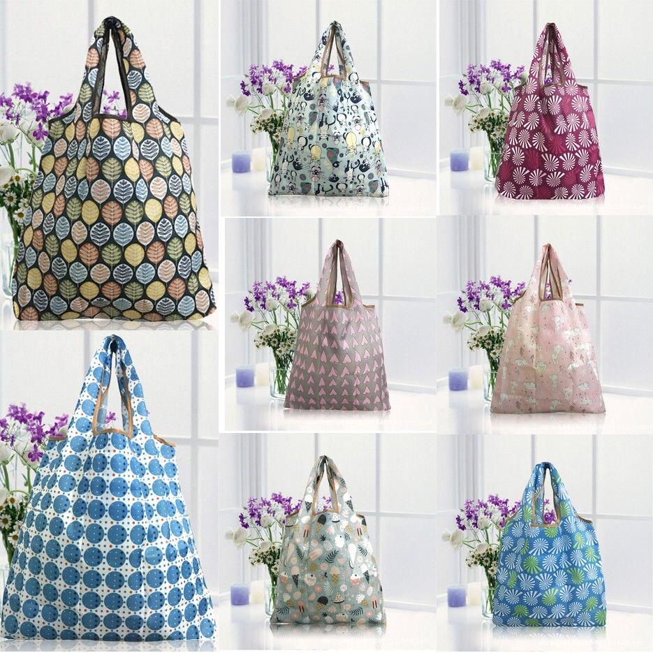 Waterproof Foldable Shopping Bag Reusable Large-capacity Fashion Print Tote