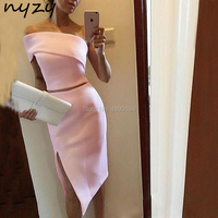 Pink Cocktail Dresses 2 Piece High Leg Cut One Shoulder Asymmetrical Short Wedding Party Dress Graduation 2019 NYZY C48