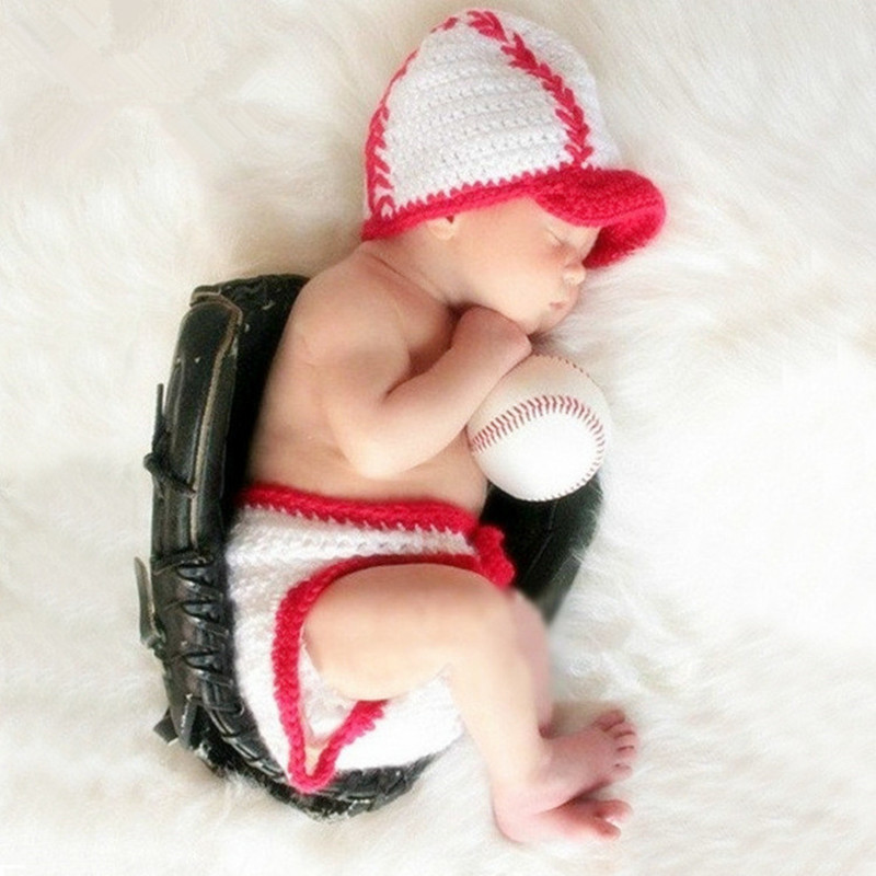 Newborn Photography Props Baby Crochet Costume Baseball Photo Props Baby Cap+Pants Set Infant Photography Accessories Fotografia
