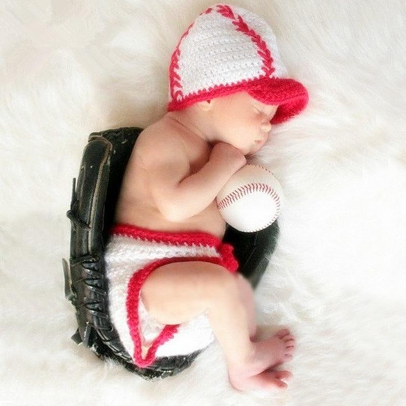 Newborn Photography Props Baby Crochet Costume Baseball Photo Props Baby Cap+Pants Set Infant Photography Accessories Fotografia
