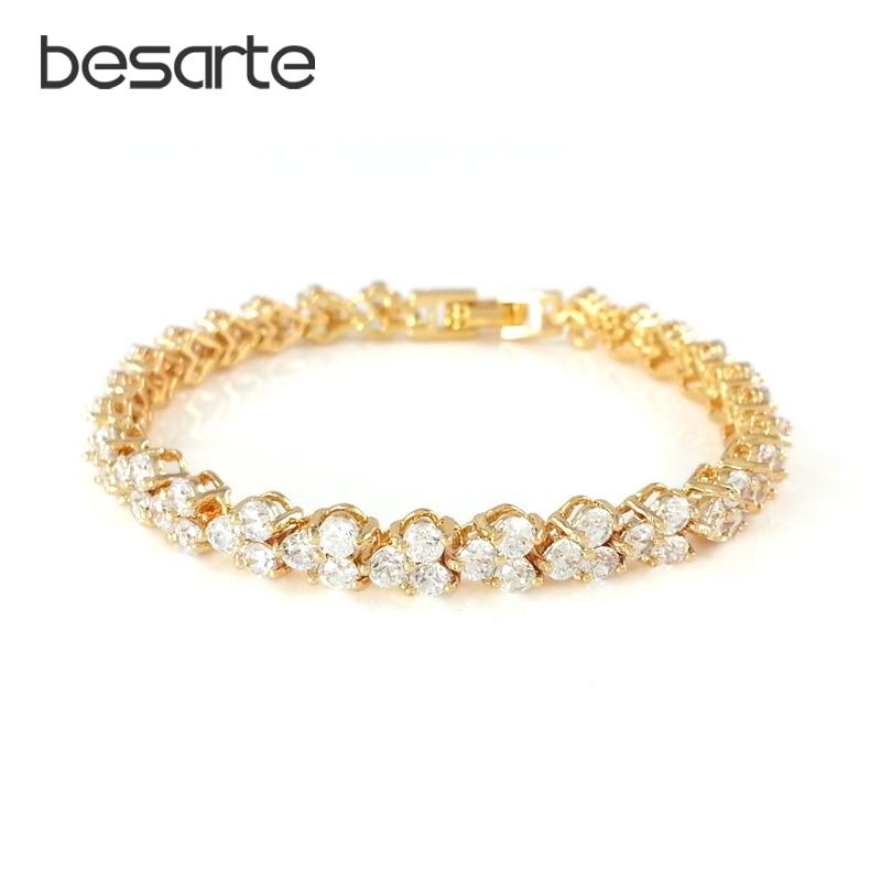 18CM Austrian Bracelets For Women Pulseira Brazaletes Pulseras Mujer Oro Gold-color Bracelets Bangles Fashion Jewelry B0732