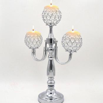 Crystal Ball Candlestick Metal Crafts Wire Wedding Props Chrome-plated Hardware Accessories Decoration