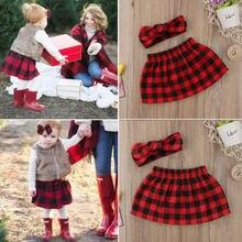 Милые Рождественские юбки в клетку для маленьких девочек; повязка на голову; одежда