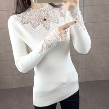 2019 Spring Women Lace Sweater High Elastic Solid O-neck Long Sleeve Slim Sexy Tight Bottoming Knitted Pullovers