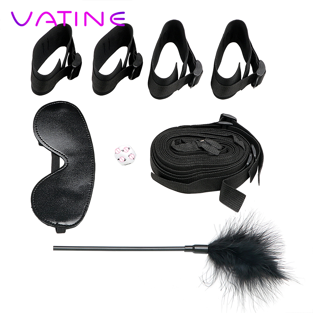 VATINE <font><b>4Pcs</b></font>/<font><b>Set</b></font> Handcuff and Ankle Cuffs with Eye Mask Feather Whip <font><b>Sex</b></font> Dice Adult Game Under Bed Restraint <font><b>Sex</b></font> <font><b>Toys</b></font> for Couples image