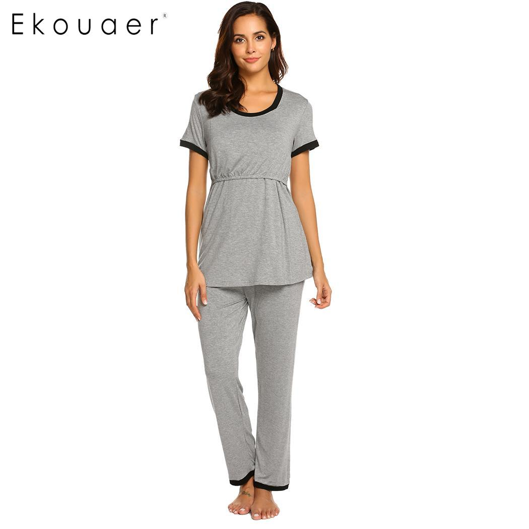 Ekouaer Nightwear   Pajamas     Sets   Women Casual O-Neck Short Sleeve Maternity Nursing Double Layered Sleepwear Home   Pajamas     Set