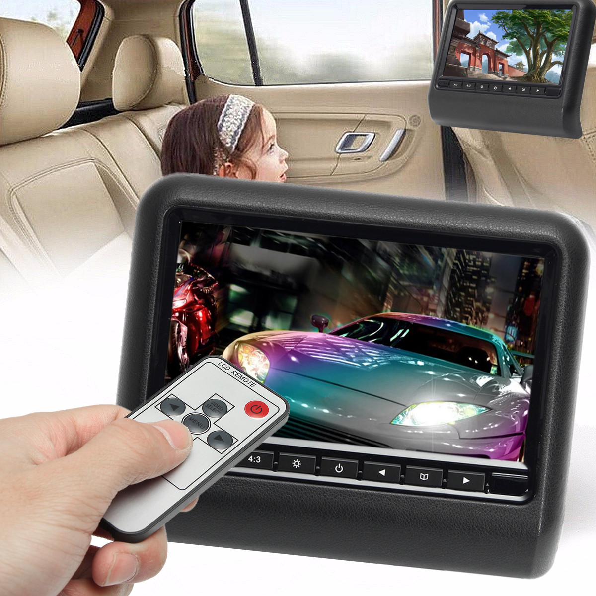 DC 12V 5W 9 Inch Car Headrest Backseat Monitor DVD Video Player Display LCD Screen Mount PAL/NTSC Image Format 2 Way Video Input 1pair 90 degree right left angle mini 5pin usb b male to micro usb female plug connector adapter converter aqjg