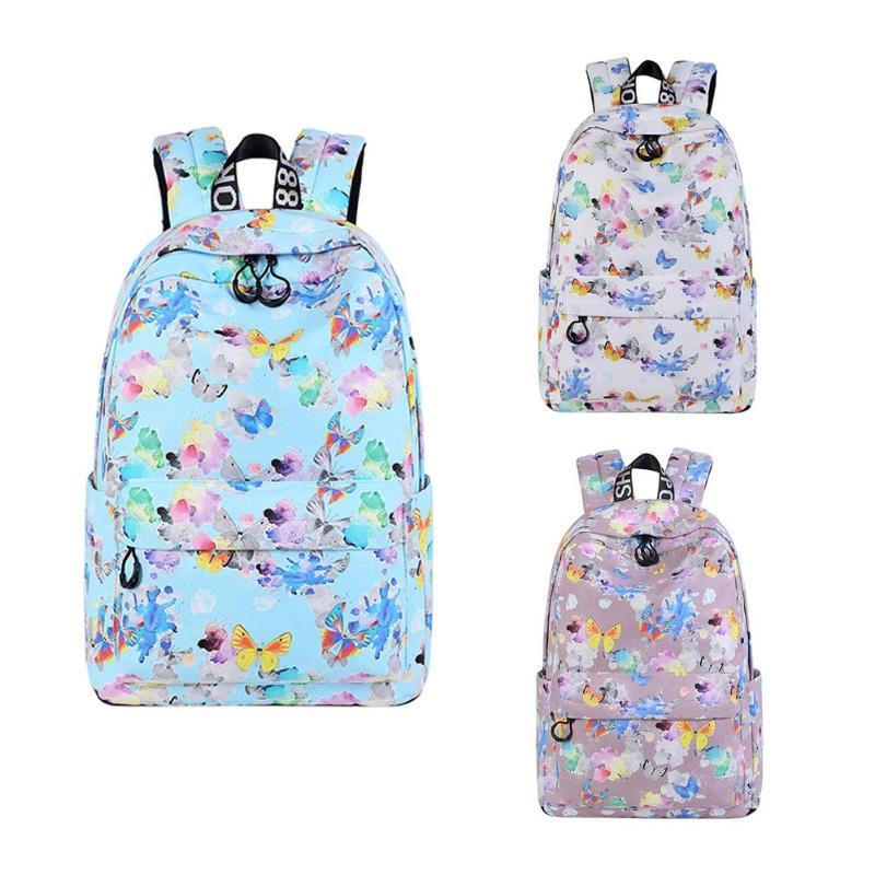 d9213b3f55b4 Женский рюкзак с принтом бабочки в Корейском стиле для девочек-подростков,  повседневная школьная сумка