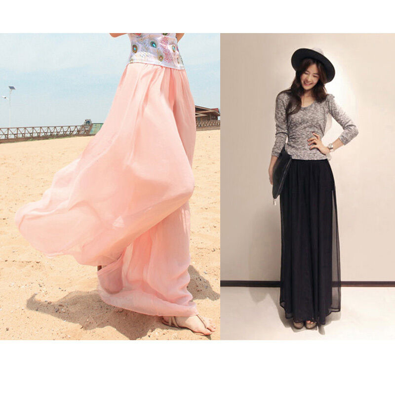 2019 New casual   wide     leg     pants   skirt waist chiffon loose fashion Culottes   pants