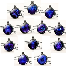 12 Constellations Zodiac Signs Leo Aries Libra Glass Cabochon Dome Fashion Jewelry Necklace Pendant Woman Man Birthday Gift