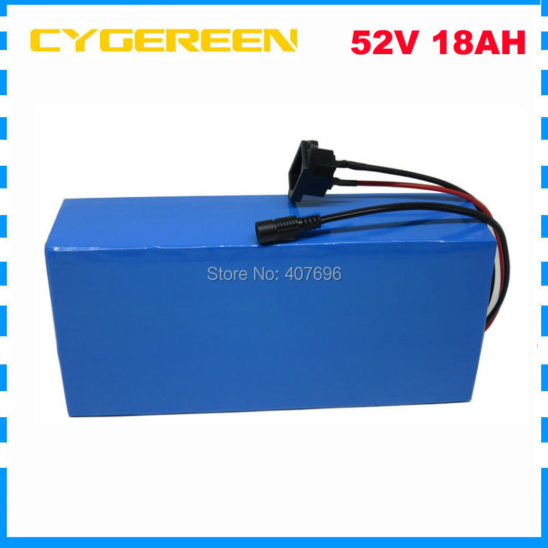 1500W 52V 18AH lithium ion battery 51.8V 18.2AH Electric bike battery 52V 14S ebike e scooter battery 30A BMS 2A Charger