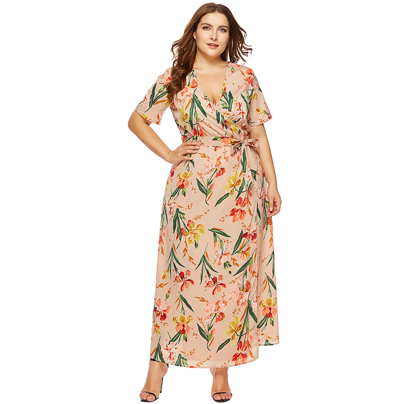 Women Plus Size Boho Floral Printed Long Dress V Neck Short Sleeve Bandage Slim Elegant Summer Beach Maxi Dress Robe Vestidos