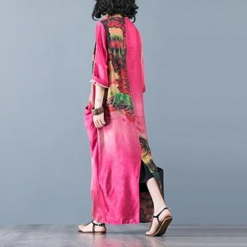 CHICEVER Summer Vintage Print Women Dress Cross V Neck Half Sleeve Patchwork Pockets Split Hem Loose Slim Female Dresses 2020 4