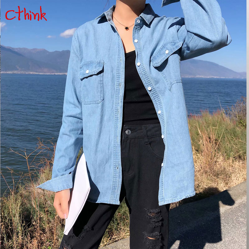 2019 New Solid Jeans Shirt Women Long Sleeve Regular Turn Down Collar Denim Blouse For Woman Korean Pockets Casual Womens Shirts