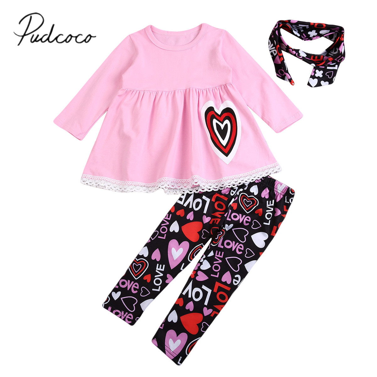 2018 Brand New Toddler Infant Child Baby Girl Long Sleeve T-shirt Heart Tops Pants Headband Autumn Outfit 3pcs Cute Clothes 1-6t Mother & Kids Girls' Clothing