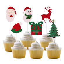 6pcs/lot Christmas Cupcake Topper Birthday Party Decoration Santa Claus Snowman Reindeer Gift Cake Toppers For Christmas omilut 18pcs merry christmas cupcake topper christmas christmas snowman gift sock biscuits birthday cake topper supplies