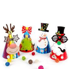 Kids Paper Decorative Hat Diy Party Christmas Birthday Party Toy Play Hats Children Celebration Snowman Hat Hair Accessories