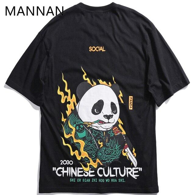8b82cce436eb MANNAN men tshirt homme harajuku modis Unisex China 's Kung Fu Panda Print T -shirts 100% Cotton Japan Harajuku Hip Hop T Shirts