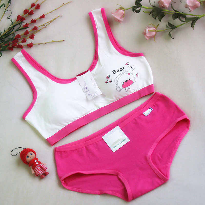 c507bf170b Girls Puberty Bra Set Children s Underwear Without Steel Ring Candy Color  Training Bras for Teenagers Cotton