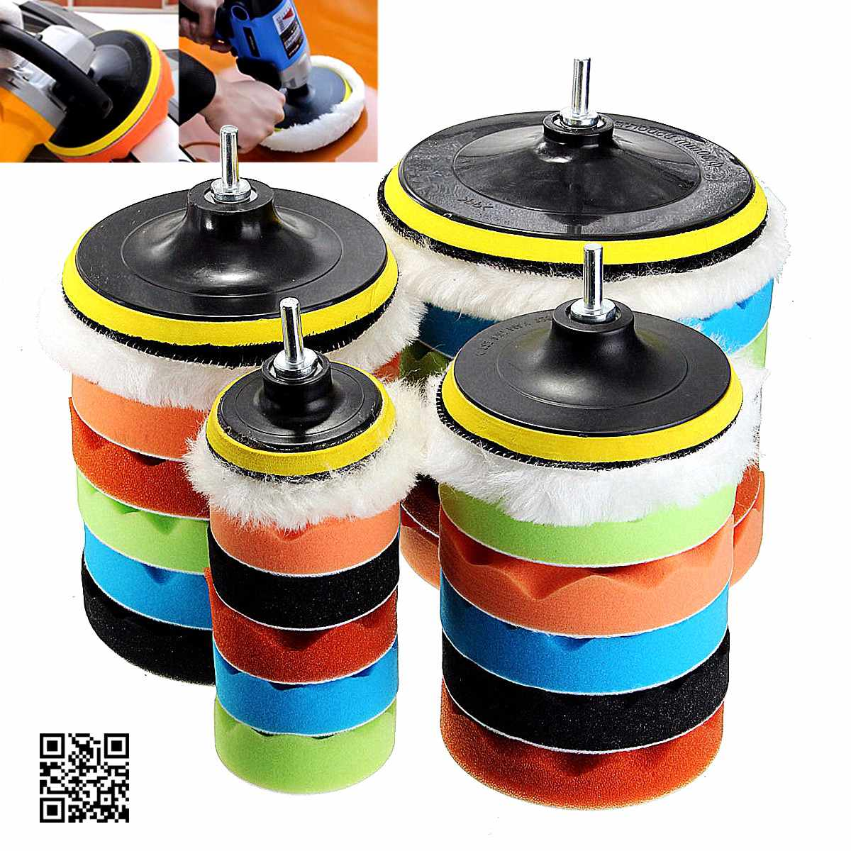 7x 3''5''6''7''Buffing Sponge Polishing Pad Hand Tool Kit For Car Polisher Compound Polishing