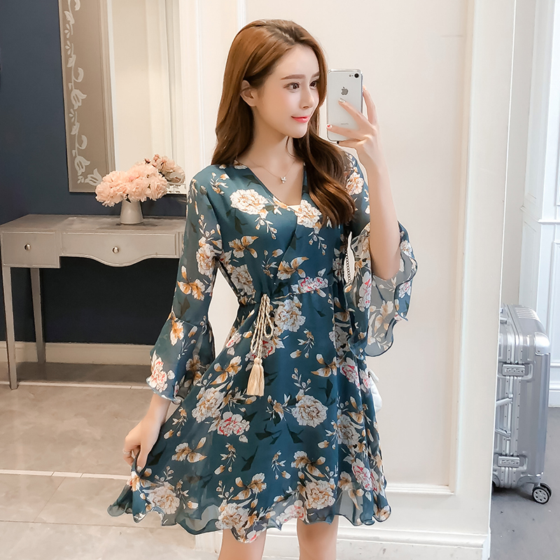 New Women dress Flare Sleeve Print Chiffon V-Neck Have A Waist Dresses Pink Blue 3332 1