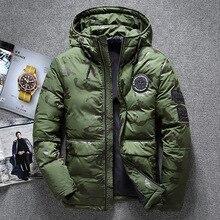 ฤดูหนาวใหม่อบอุ่นเป็ดสีขาว Downs แจ็คเก็ตผู้ชาย Outwear หิมะหนา Parkas Hooded Coat ชาย Windproof Downs เสื้อผู้ชาย
