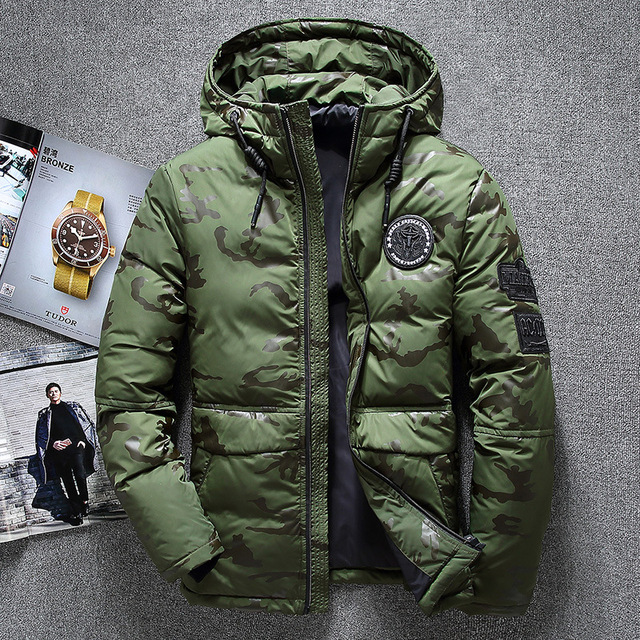 New Winter Warm White Duck Downs Jacket Men Outwear Thick Snow Parkas Hooded Coat Male Casual Thermal Windproof Downs Jacket Men