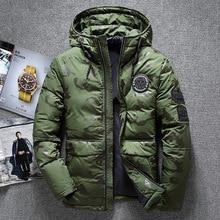 Novo inverno quente branco duck downs jaqueta masculina outwear grosso neve parkas casaco com capuz masculino casual térmica à prova de vento jaqueta